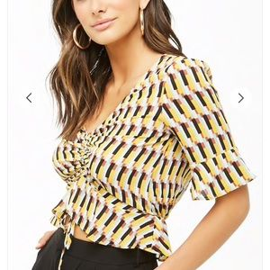 Ruched Crepe Geo Top
